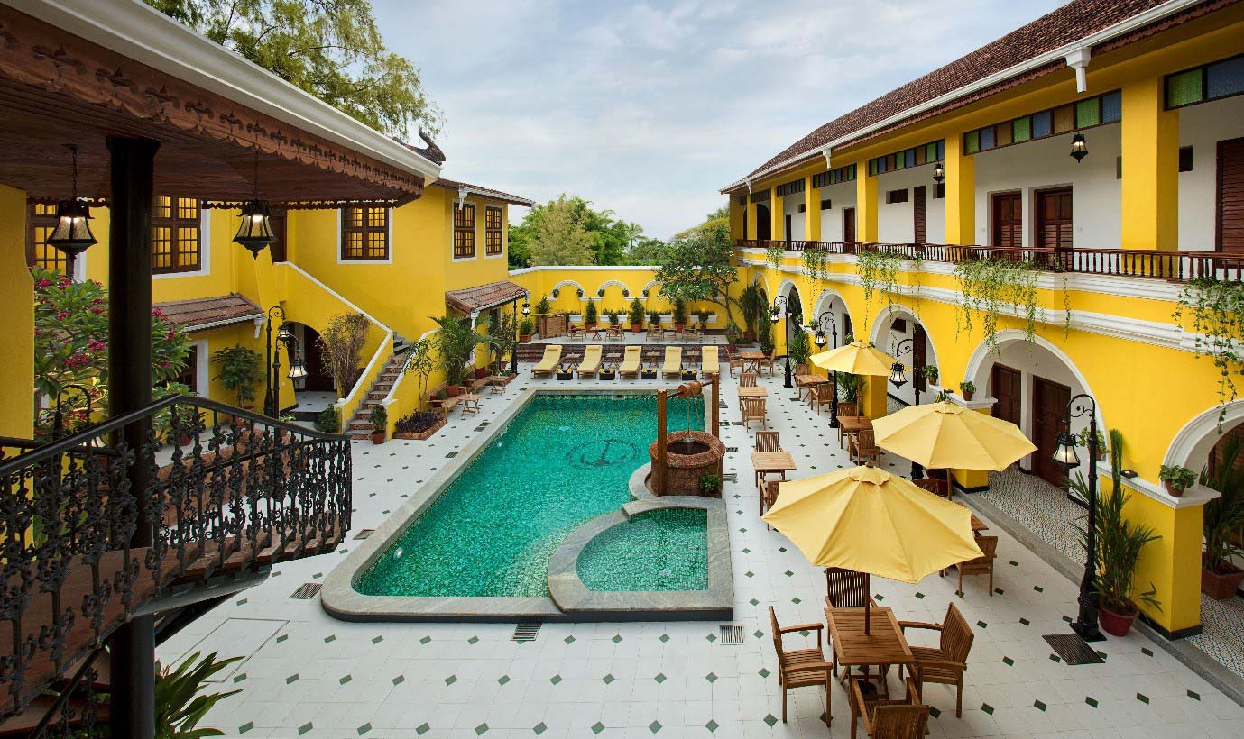 central courtyard at heritage hotel forte kochi